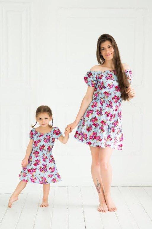 Платье для мамы и дочки в одном стиле сшить 12