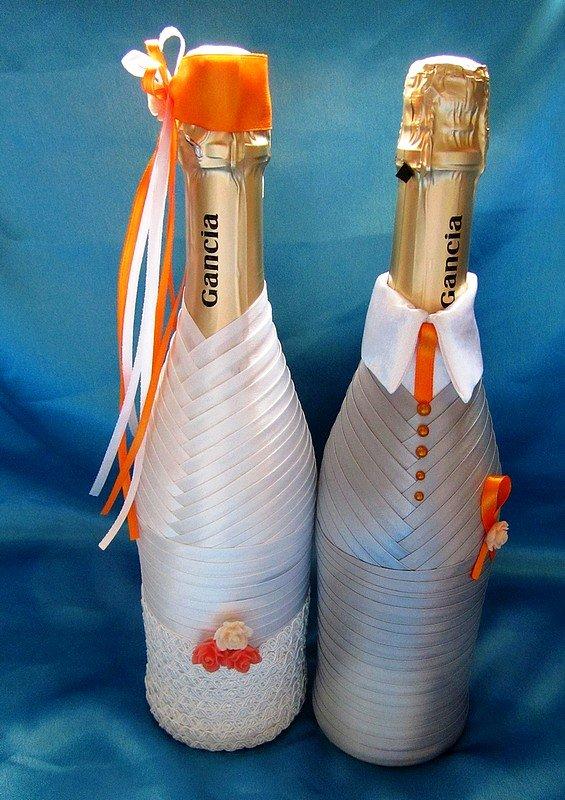 Бутылки на свадьбу своими руками пошаговое фото 303