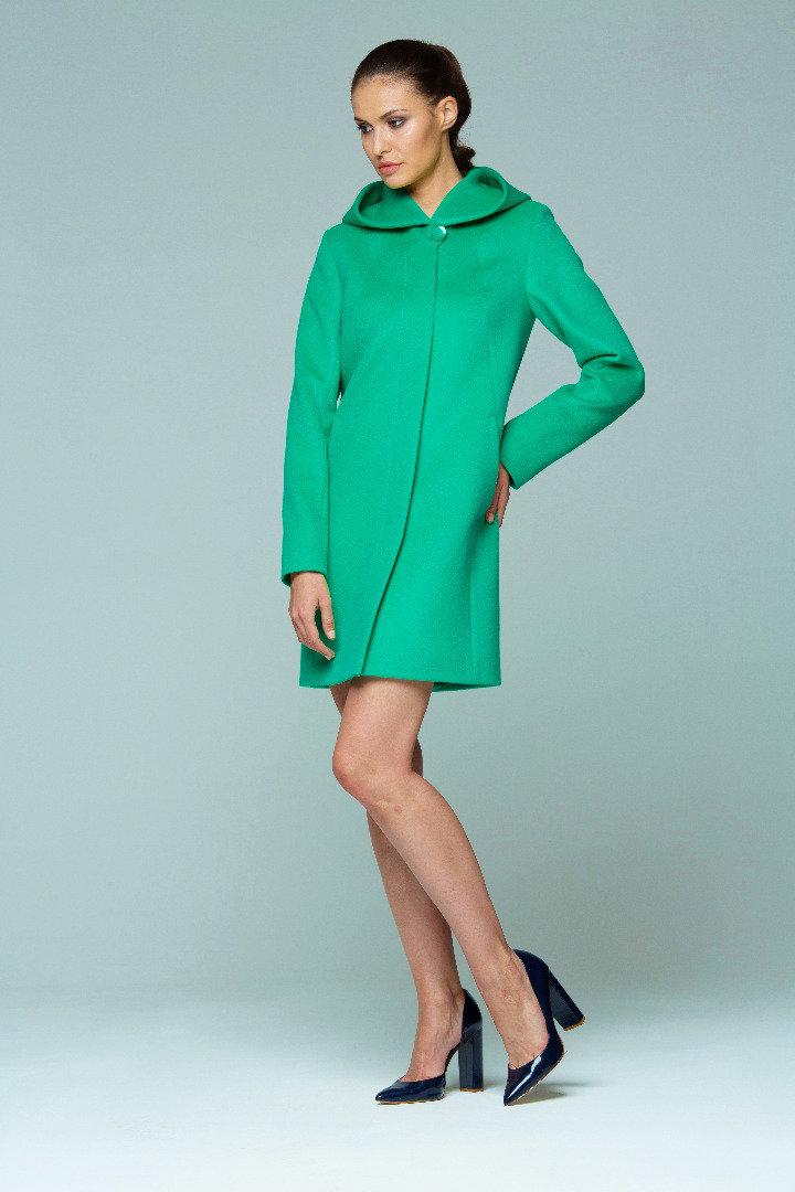 Зеленое пальто с капюшоном