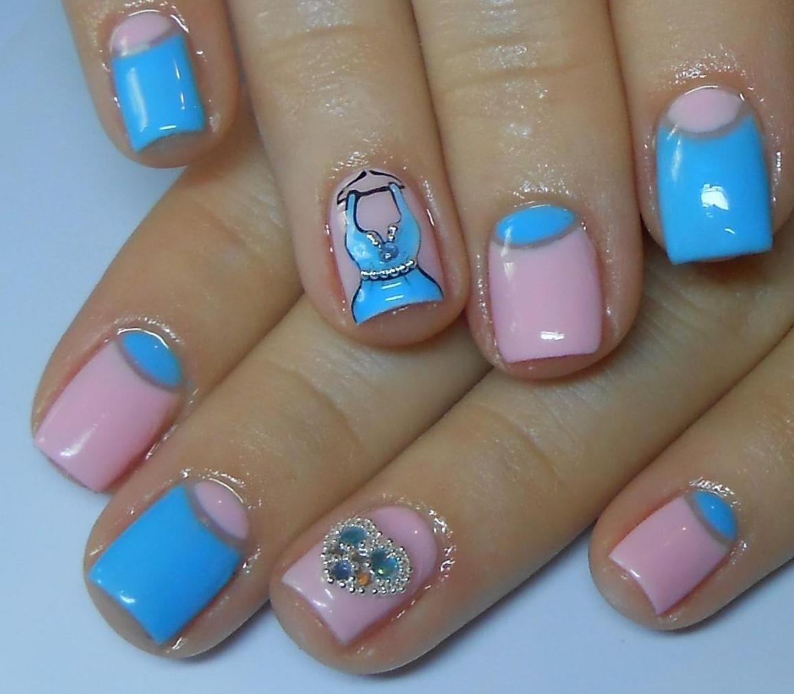 Фото гелевых ногтей голубых
