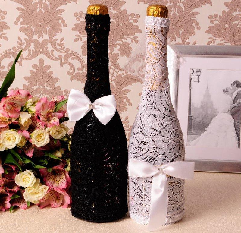 Украсить бутылки с шампанским для свадьбы своими руками