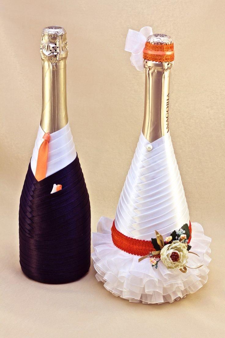 Как украсить бутылка шампанского на свадьбу своими руками 51