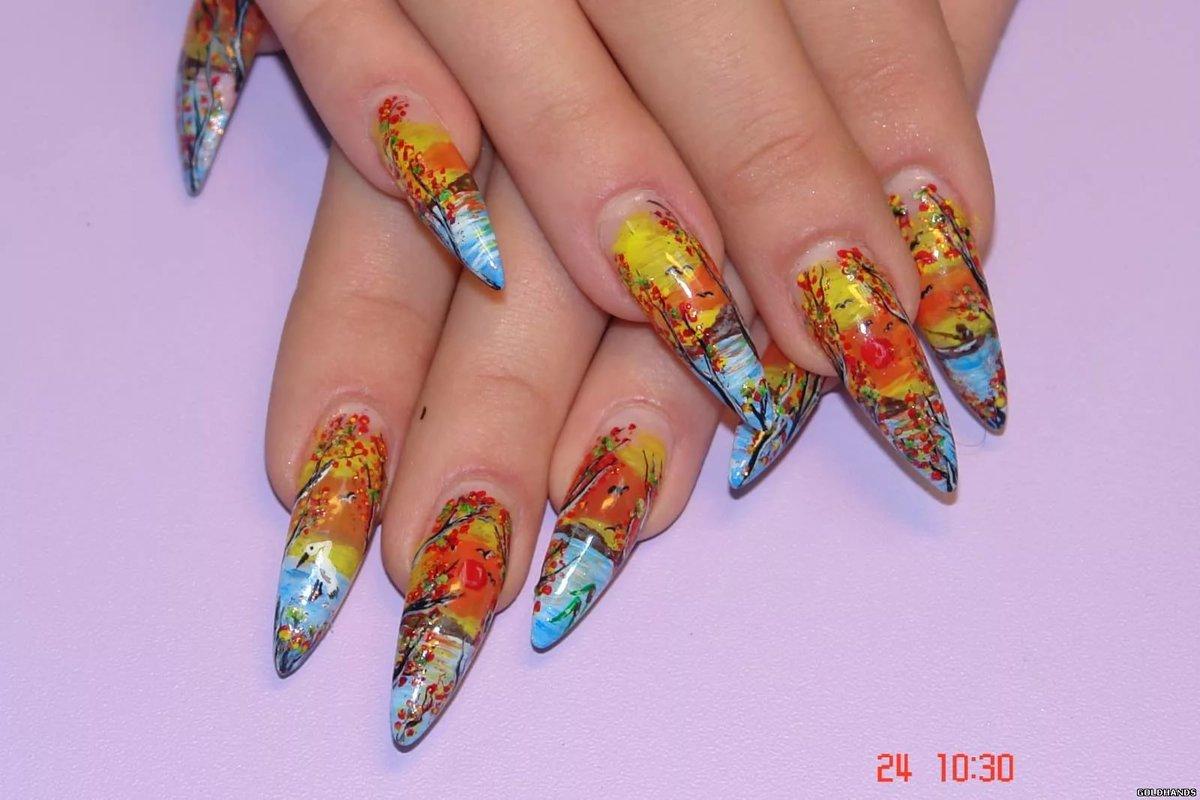 Рисунок на ногтях фото тема осень