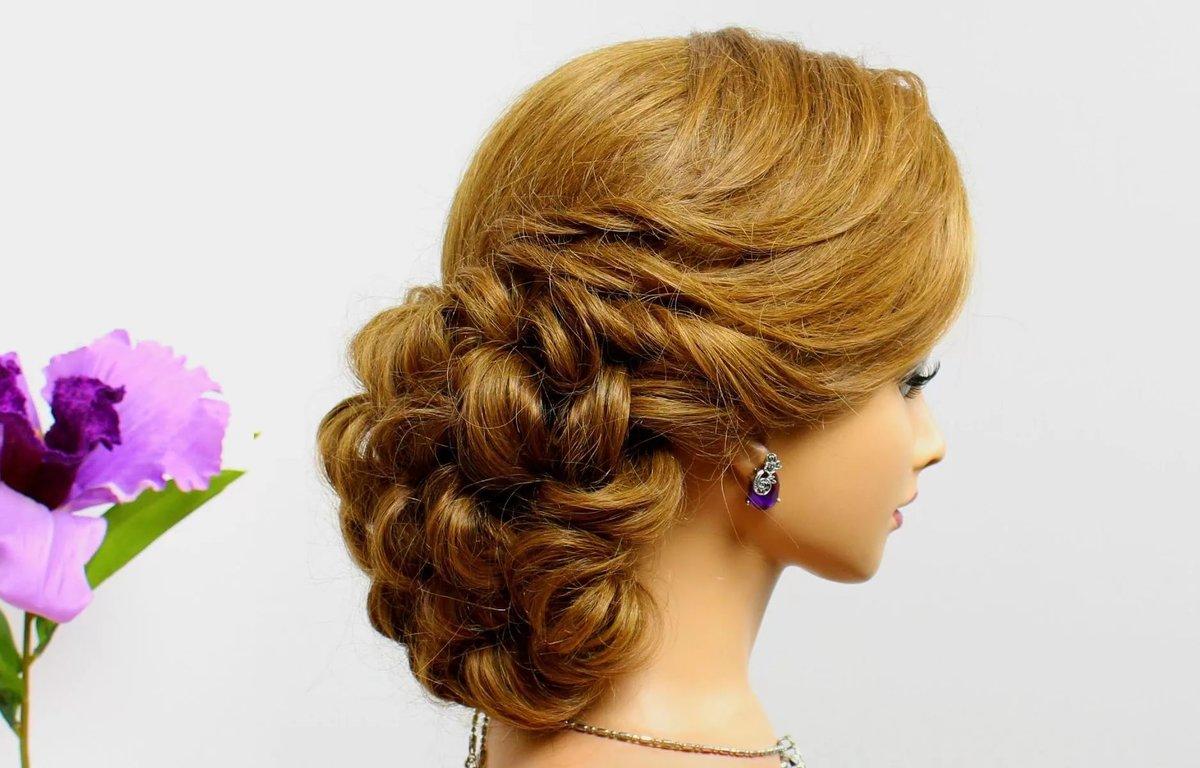 Вечерние прическа вьющиеся волосы