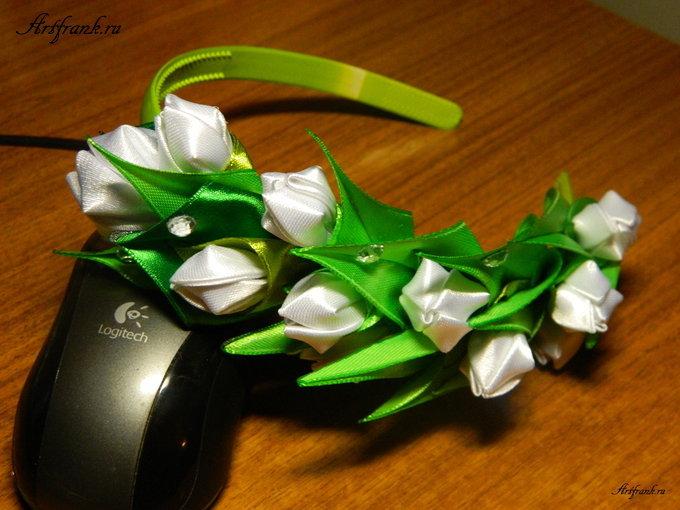 Цветы из лент на ободок своими руками мастер класс канзаши 97