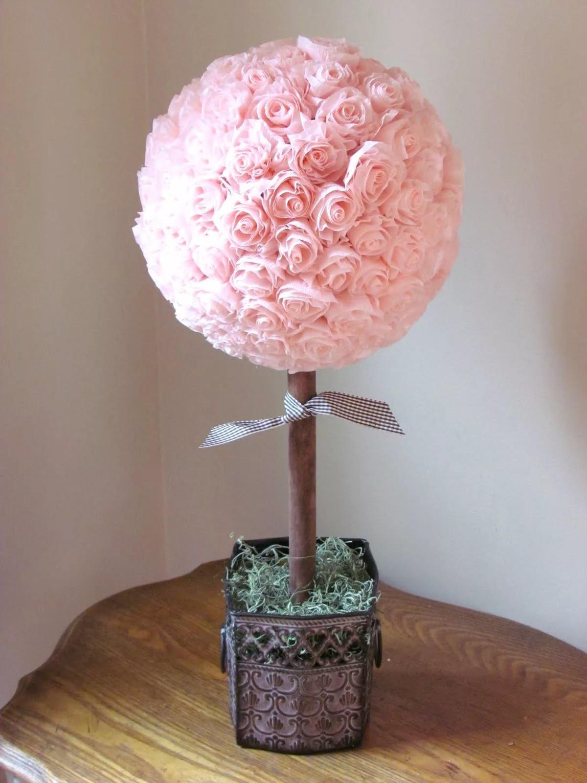 Как сделать дерево из роз из салфеток