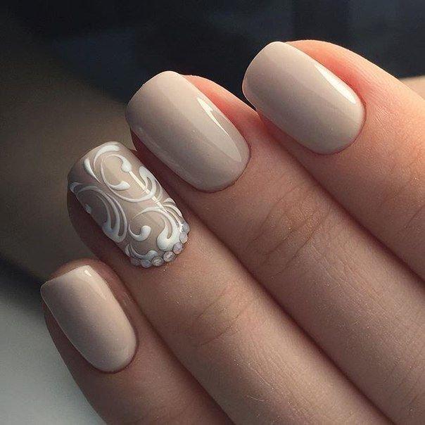 Дизайн ногтей 2018 в бежевых тонах