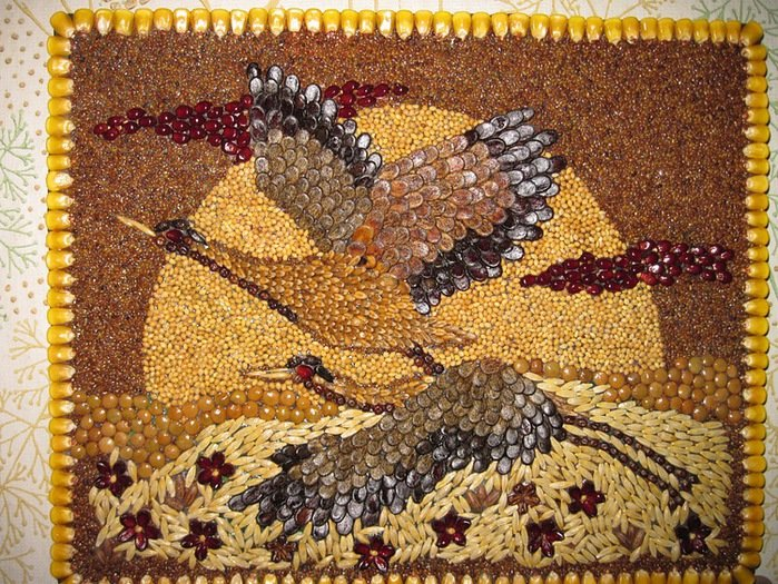 Картины из круп и семян своими руками фото 56