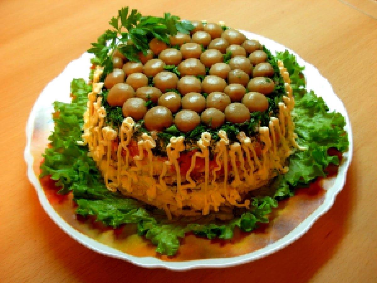 Салат лесная поляна рецепт пошагово с опятами