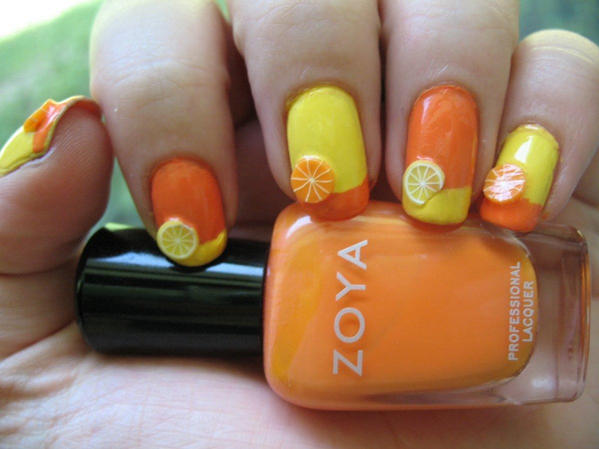 Цветы на ногтях фрукты фото
