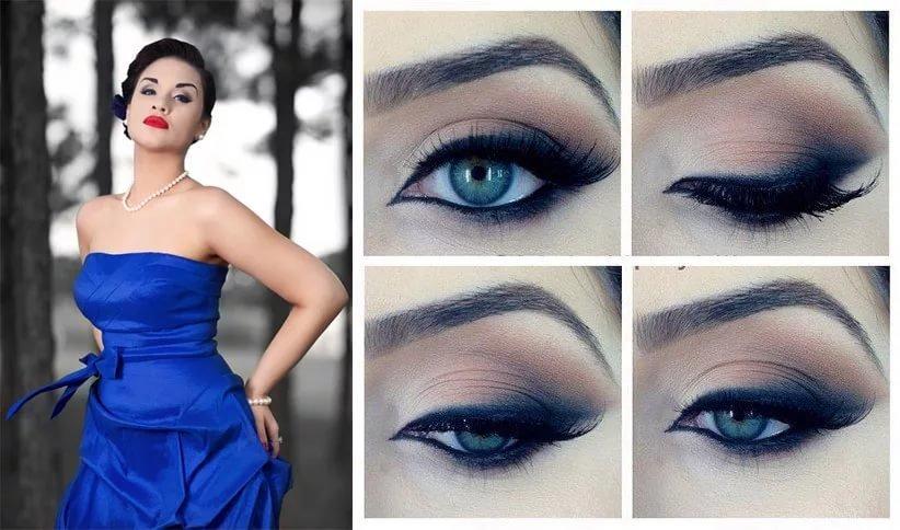 Макияж на свадьбу по синее платье