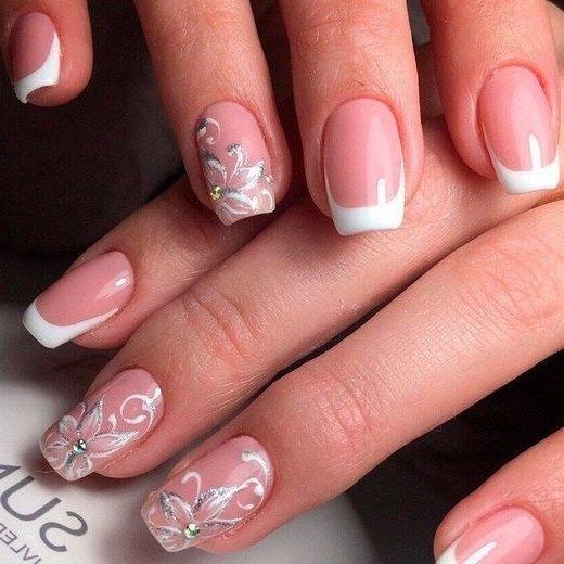 Красивые ногти 2017 френч с рисунком белый