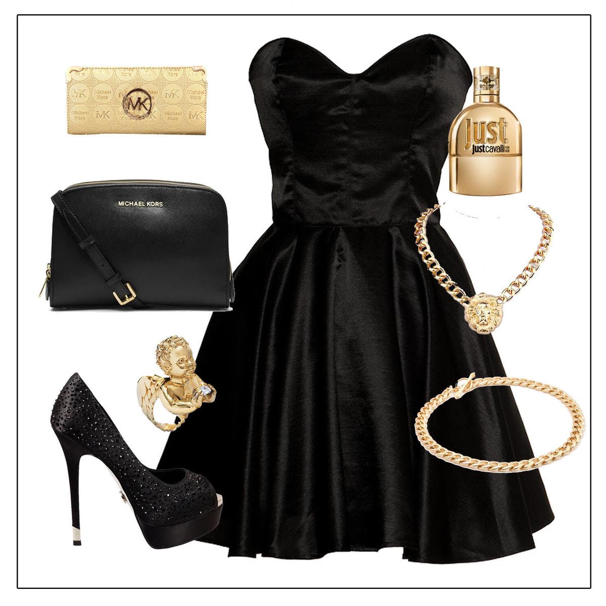 Черное платье и красная бижутерия