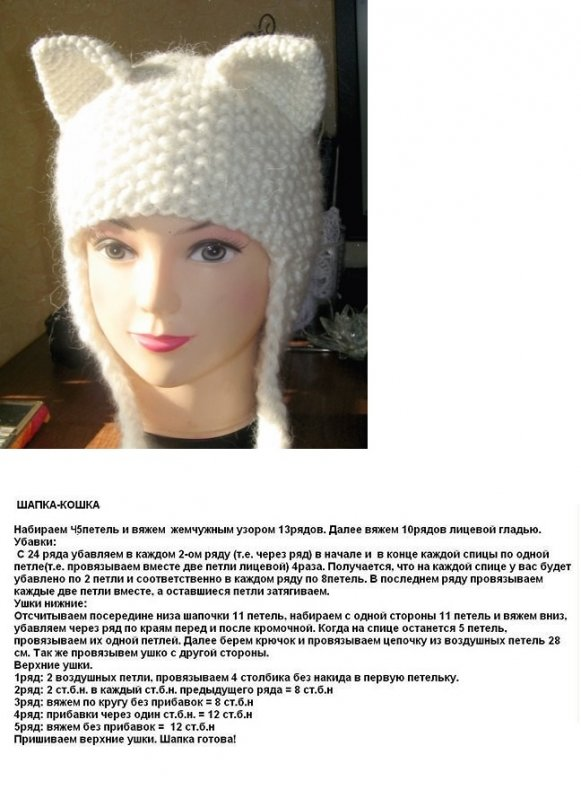 Вязание спицами шапка для девочки на 1 год