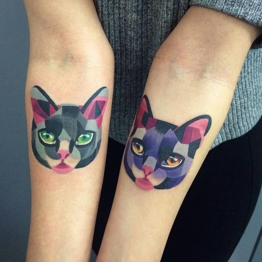 Парные тату с котами