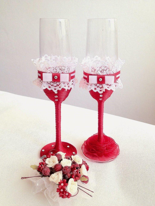 Оригинально украсить свадебные бокалы своими руками 114