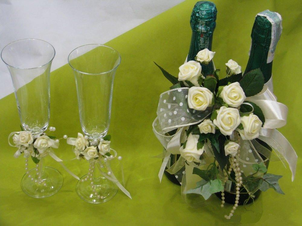 Украшения на бутылки на свадьбу цветами