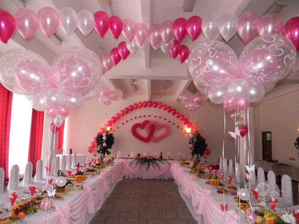 Как украсить зал на свадьбу своими руками лентами и шарами 3