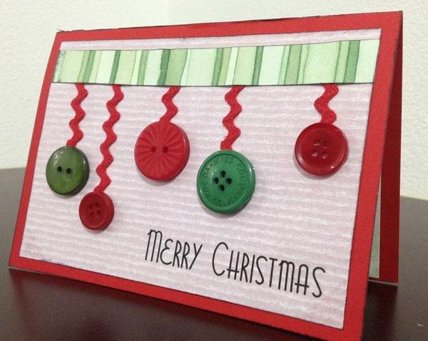 Новогодняя открытка своими руками из пуговиц