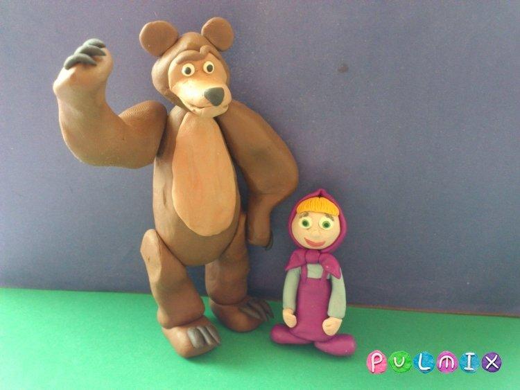 Маша и медведь из пластилина поделка