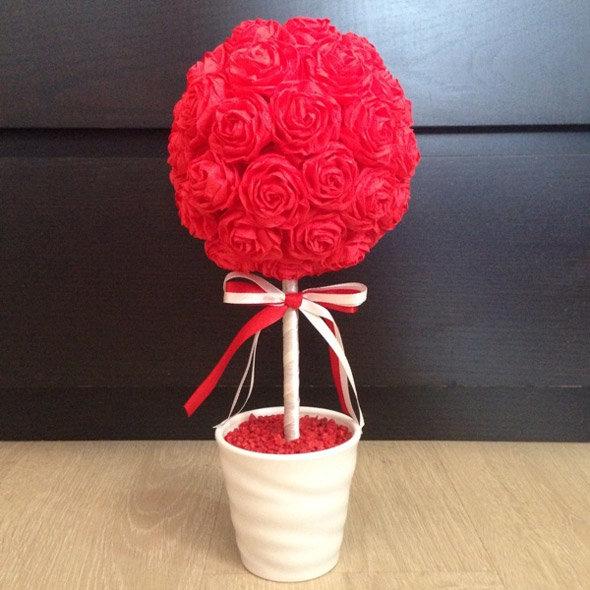 Топиарий из роз из салфеток своими руками