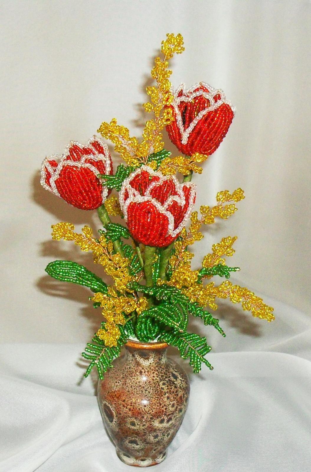 Бисероплетение тюльпаны мастер класс пошаговое фото