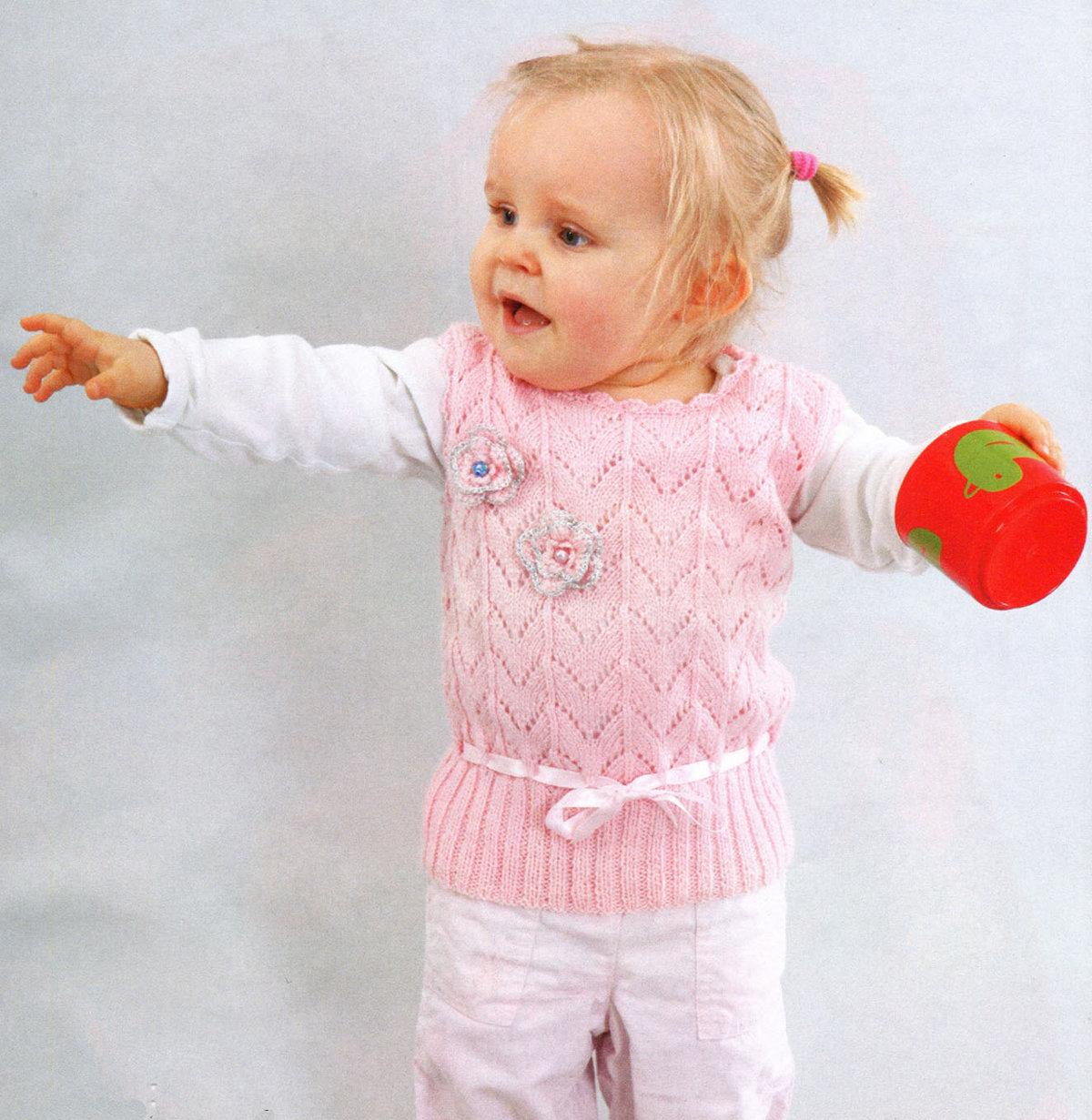 Вязание спицами жилета для девочки до 3 лет 27