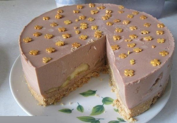 Шоколадно-банановый торт без выпечки рецепт с фото