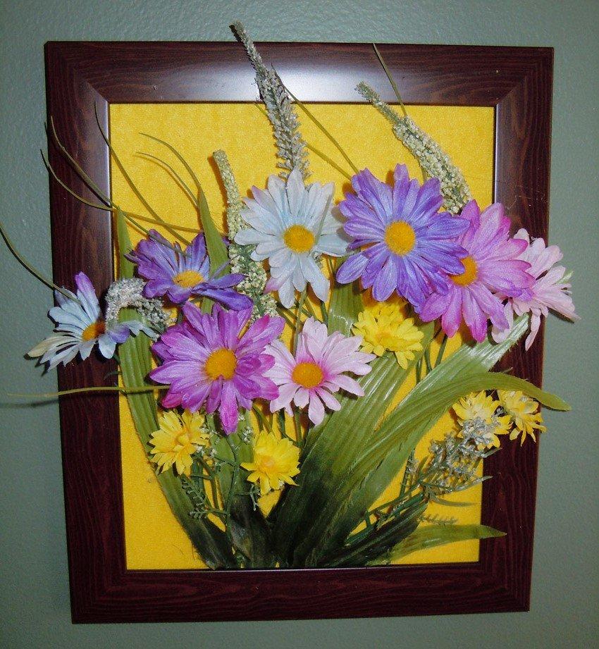 Композиции из искусственных цветов своими руками в рамке 14