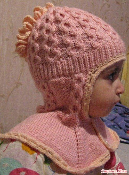 Вязание для девочек шапка шлем 287