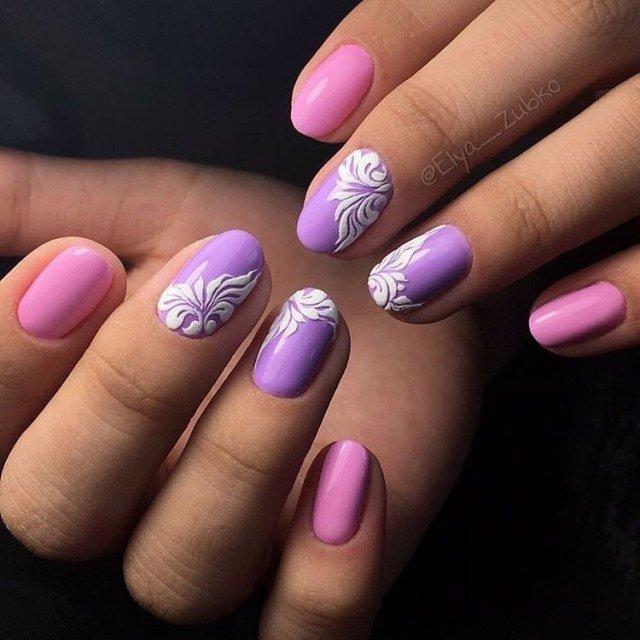 Маникюр сочетание розового и фиолетового