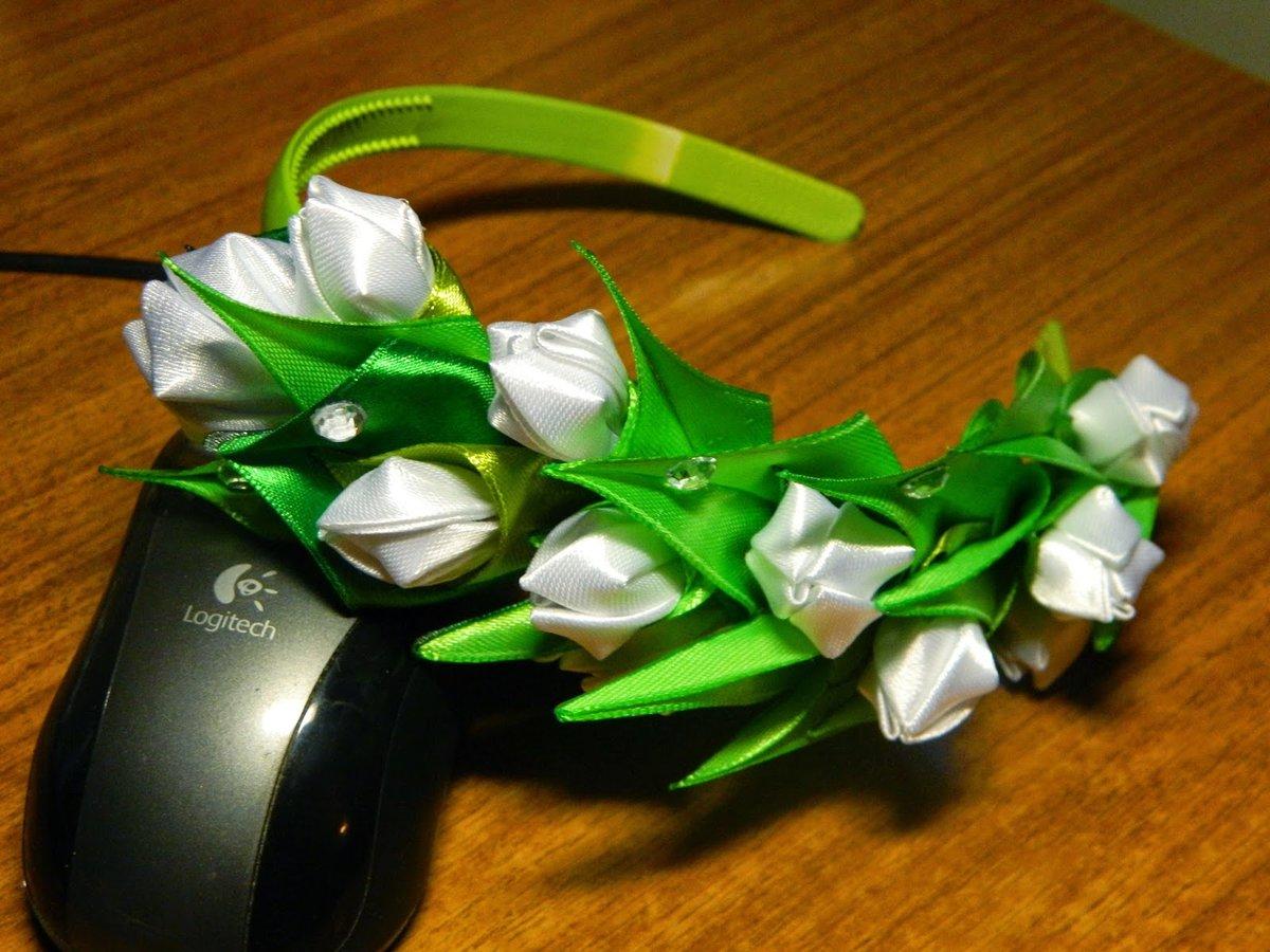 Канзаши ободок с цветами своими руками