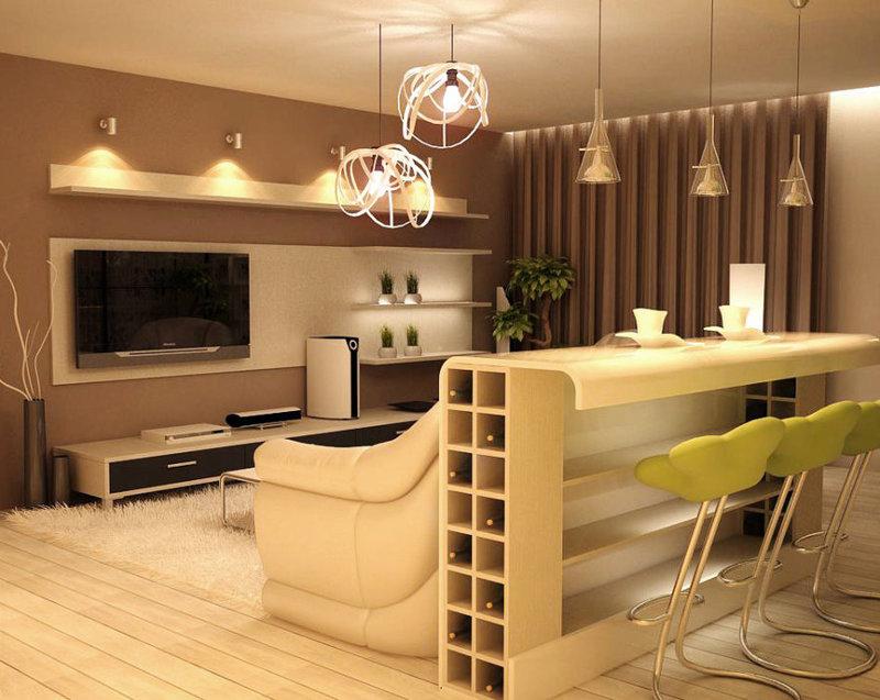 Дизайн кухни и зала с барной стойкой