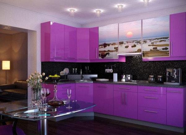 Фиолетовый интерьер кухни фото 121