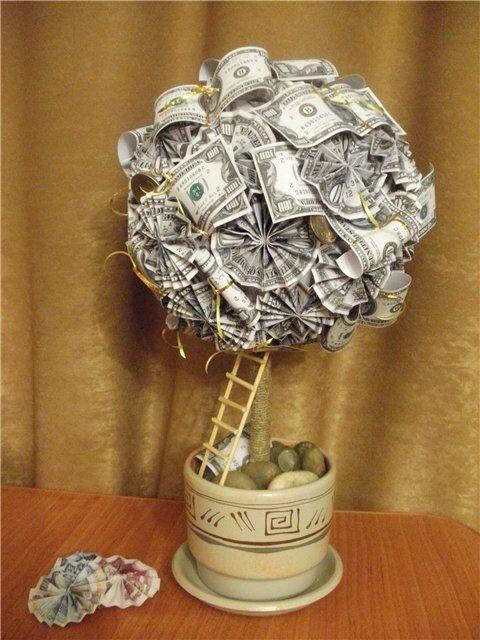 Поделка денежного дерева из купюр