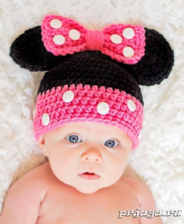 Вязание шапки крючком на ребенка 883