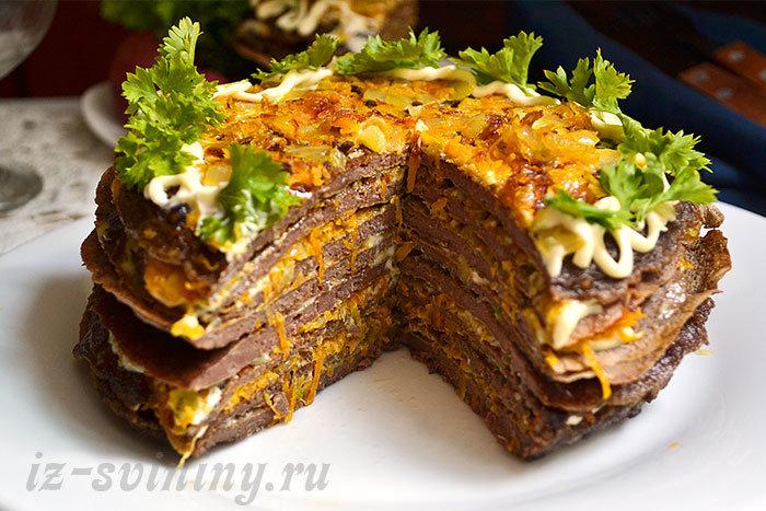 Блинный печеночный торт рецепт готовим дома