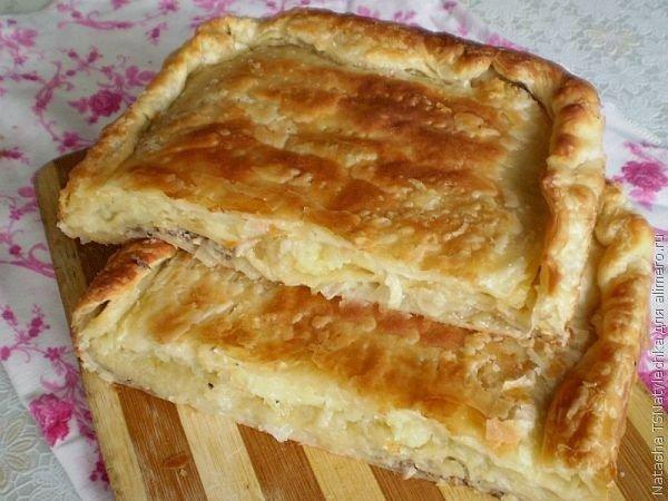 Пирог с консервами из слоеного теста рецепт с