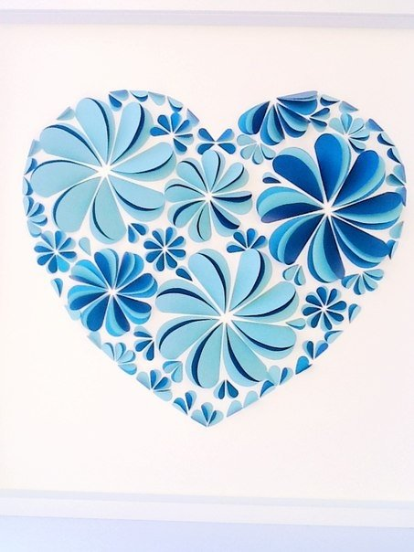 Поделки из бумаги цветочки сердечки 71