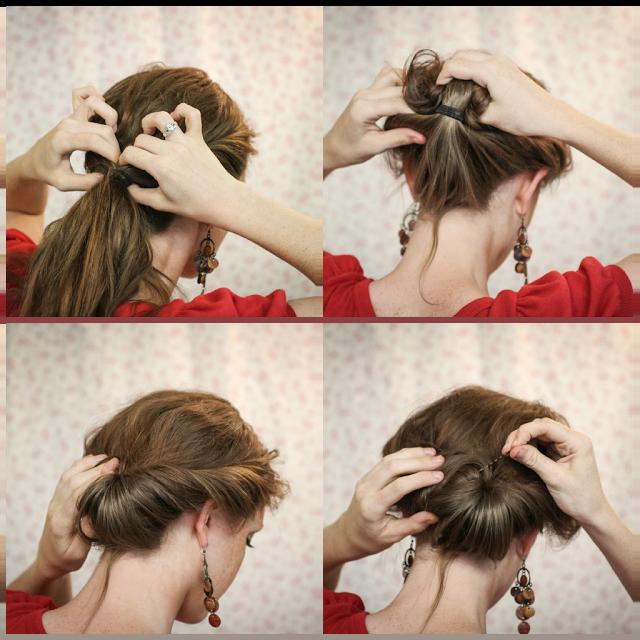 Как сделать красивый пучок из средней длины волос самой себе