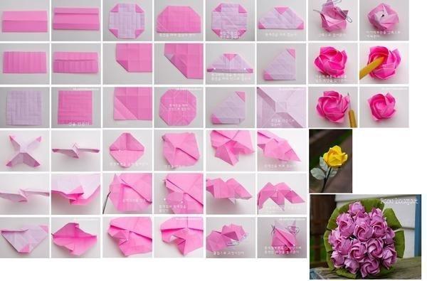Роза оригами из бумаги