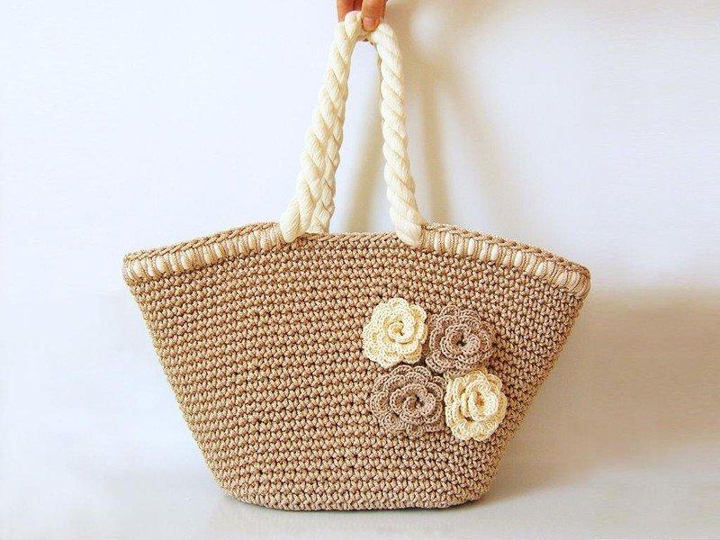 Вязание крючком пляжные сумки