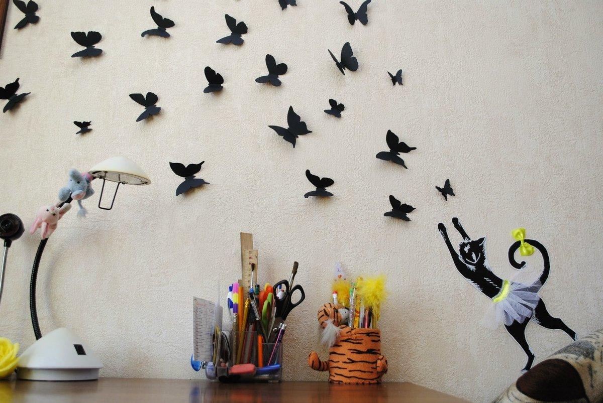 Бабочки своими руками из бумаги на стене