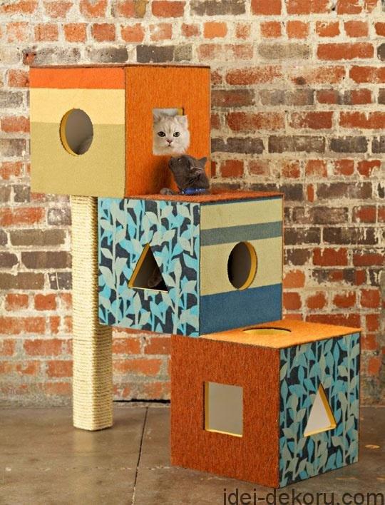 Кошке домик из коробок своими руками 96