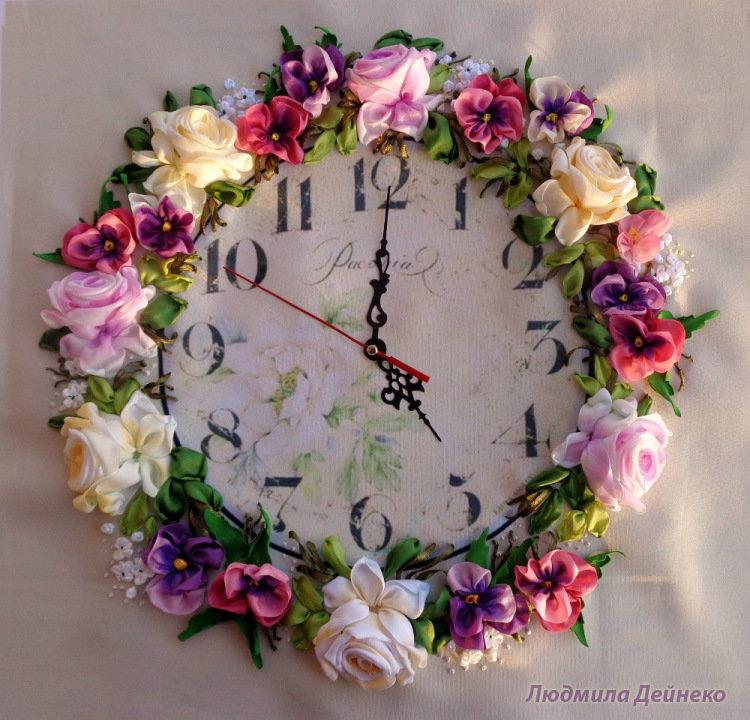 Часы из атласной ленты своими руками
