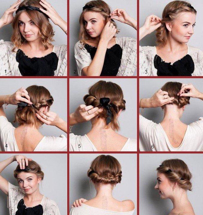 Как сделать прическу с повязкой на короткий волос