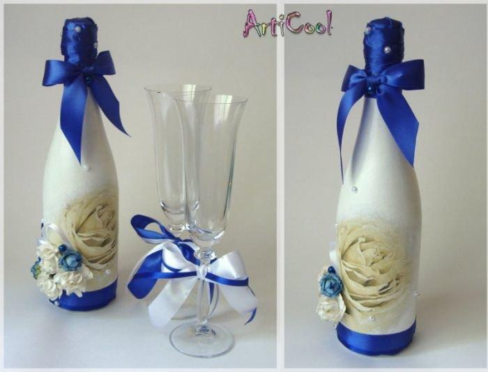 Как украсить бутылку на свадьбу для гостей