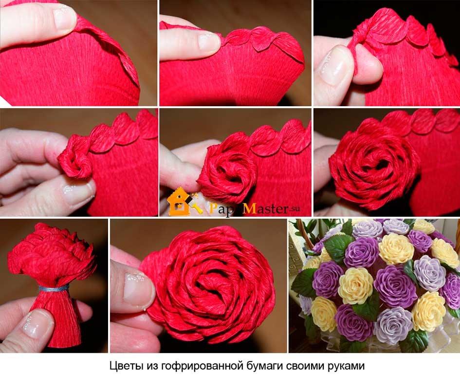 Цветы из гофрированной бумаги своими руками пошагово фото 75