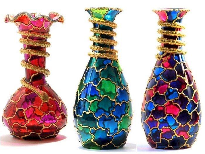 Как украсить вазу бутылку