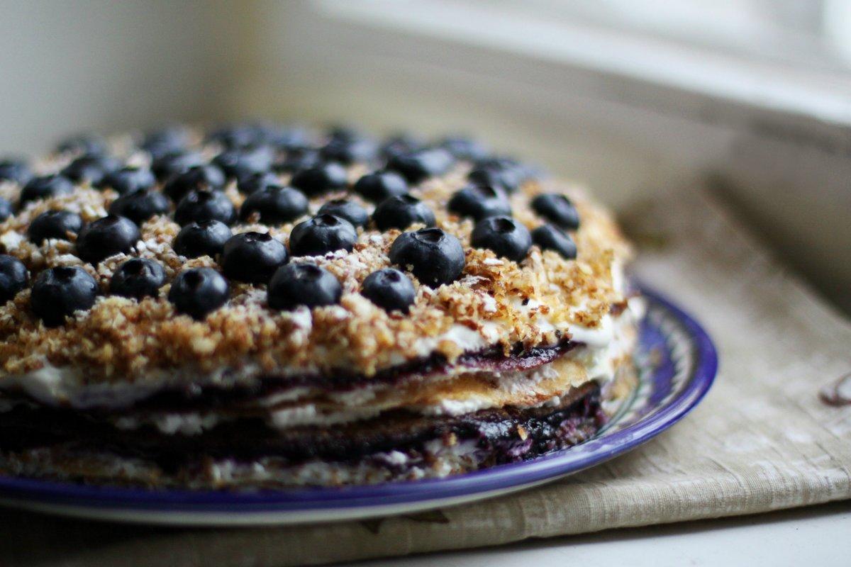 Блинный торт с вишней и сметанным кремом рецепт пошаговый
